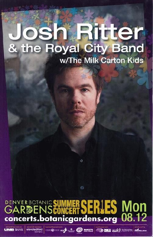 Concert poster for Josh Ritter and the Royal City Band at The Denver Botanic Gardens in Denver, CO in 2013. 11 x 17 on card stock