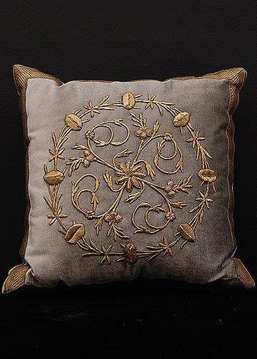 Antique Ottoman Empire raised gold metallic embroidery or Bindalli Pillow. Down…