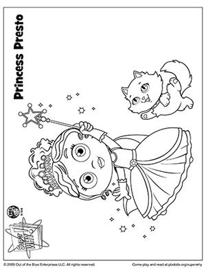 SUPER WHY Coloring Book Pages: SUPER WHY's Princess Presto and Cat (via Parents.com)