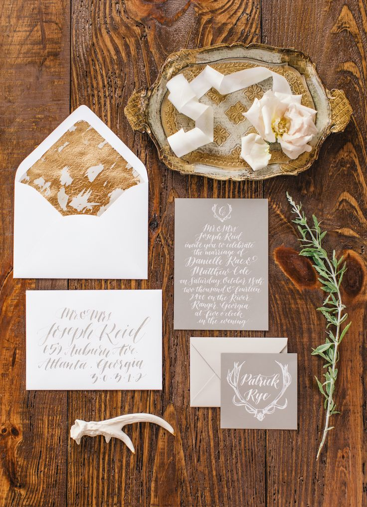 Gray and Gold Modern Stationery Grey Wedding