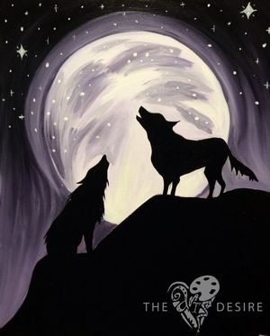 wolf acrylic painting
