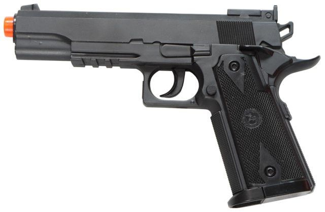 TSD Sports SD1911 CO2 Non-Blow Back Pistol - Black - TSD SPORTS M1911 Special Forces CO2 non-blowback, includes pistol case, heavy weight, 370-400fps with .20g BB, 120+BB per 12gram CO2 cartridge, functional safety, stick magazine holds 15 BBs, black finish with orange tip barrel. Legal Disclaimer Restrictions: You must be 18 or older to order this product. In some areas, state and local laws further restrict or prohibit the sale and possession of this product. In ordering this product, you…