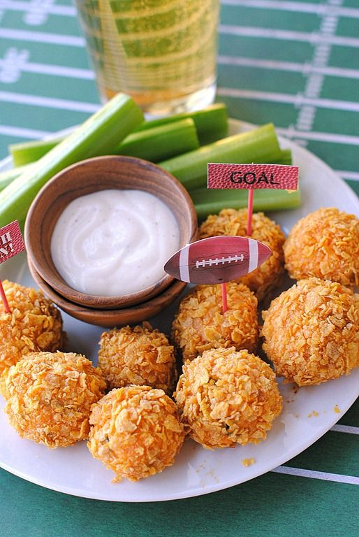 Buffalo Chicken Bites- 3 balls for 126 calories and 11.9g protein.  Perfect for football season!