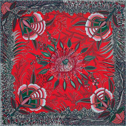 Hermes silk twill scarf, hand-rolled, 36. Ardmore Design, 'Flowers of South Africa.'