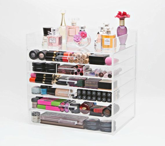 Clear Acrylic Makeup Organizer 7 Tier Wide with Acrylic Handle & Dividers