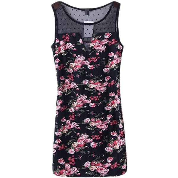 Choies Vintage Floral Bodycon Dress With Mesh Plane ($34) ❤ liked on Polyvore