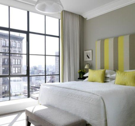 STRIPE headboard Modern #bedroom #hotel Pierre Frey @ Crosby Hotel New York