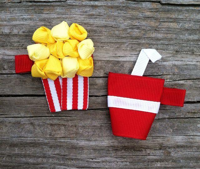 Popcorn and Soda Pop Ribbon Sculpture Hair Clip Set -