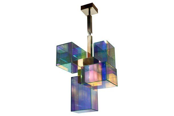 """Vан der Straeten.  Дизайнер Эрве ван дер Стратен. Люстра """"Нирвана"""", цветное стекло, полированная бронза, ограниченная серия из8 штук, 2010."""