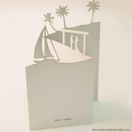 Beach Wedding Invitations- Laser cut Beach Landscape