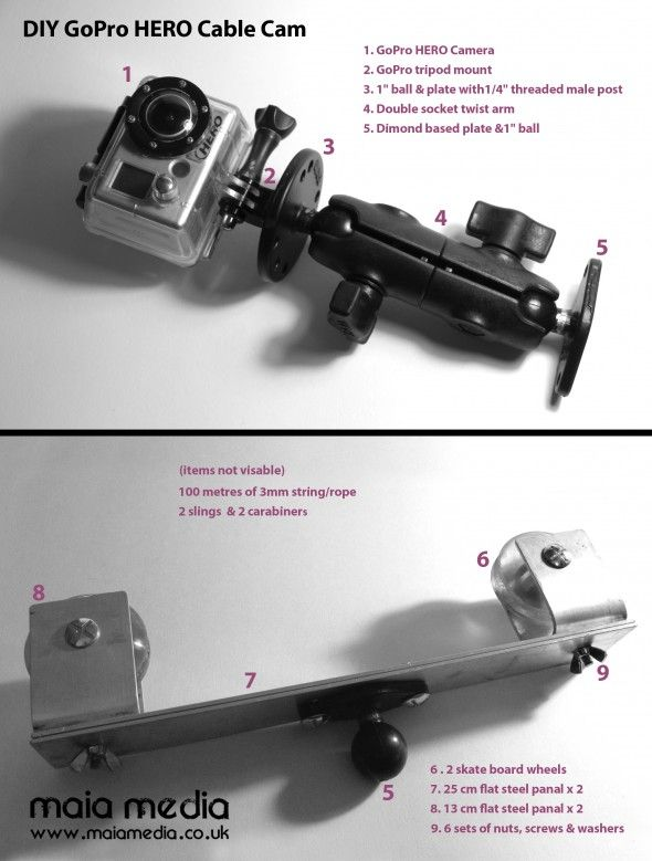 How to make your own lightweight GoPro DIY Cable Cam