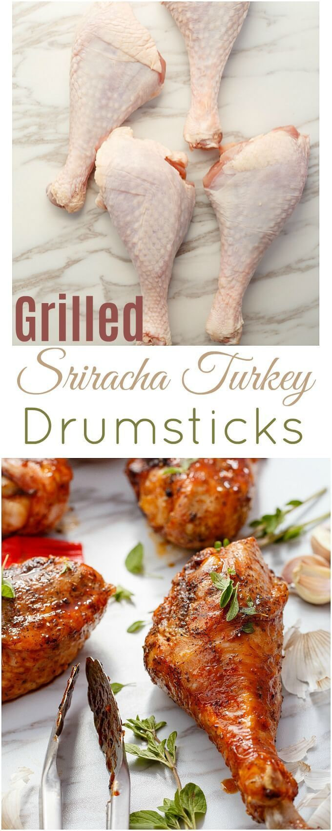 Grilled Sriracha Turkey Drumsticks | http://thecookiewriter.com | @thecookiewriter | #sponsored #turkey | An easy grilling recipe, these grilled sriracha turkey drumsticks are gluten-free and great for beginners! Healthy, too!