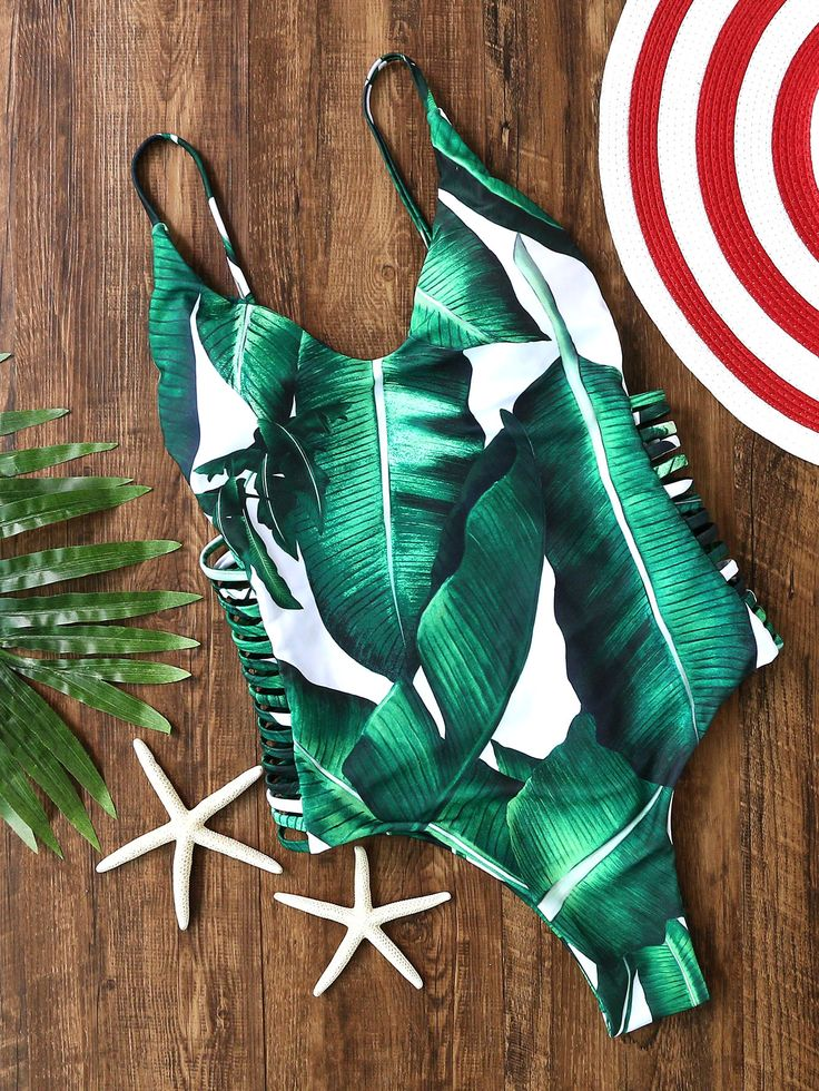 Green Leaf Palm Cut Out Swimsuit