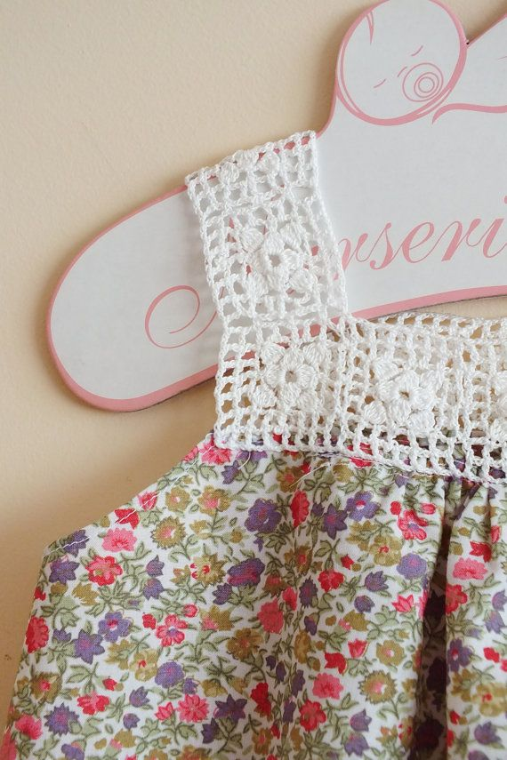 Crochet yugo túnica para niñas pequeñas, 12m / 18m, Floral Print, perfecto para verano, gratis envío mundial