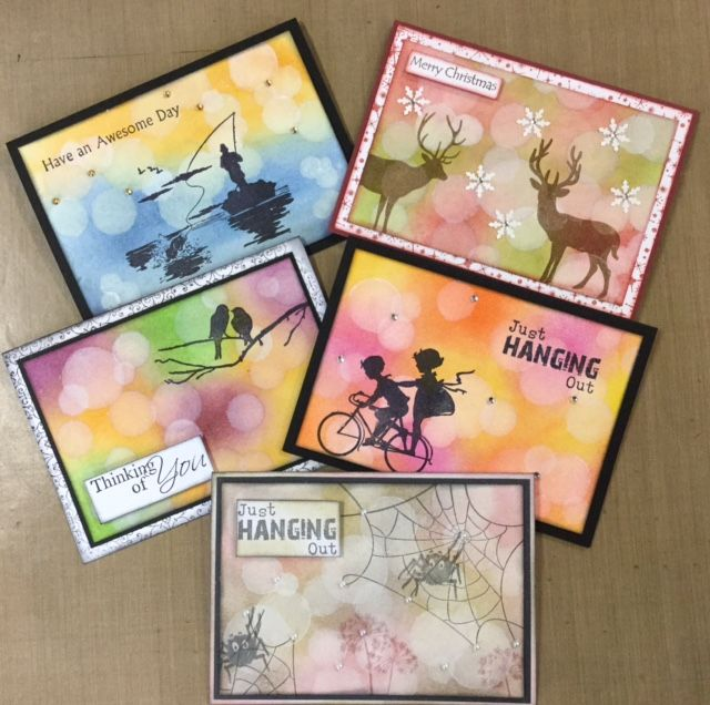 Bokeh cards made using kaszazz product by Julie Storti