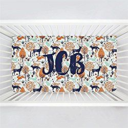 Carousel Designs Personalized Custom Navy and Orange Woodland Animals Crib Sheet JCB Idea - Organic 100% Cotton Fitted Crib Sheet - Made in the USA