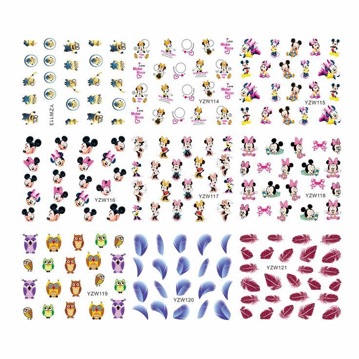 FWC Hot Ontwerpen Water Decals Gemengde Bloem Nail Stickers Franse Tips Decoraties Voor Nagels Gereedschap