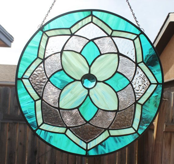 STAINED GLASS MANDALA by Sunflower Glassworks on Etsy - Ready to Ship!!