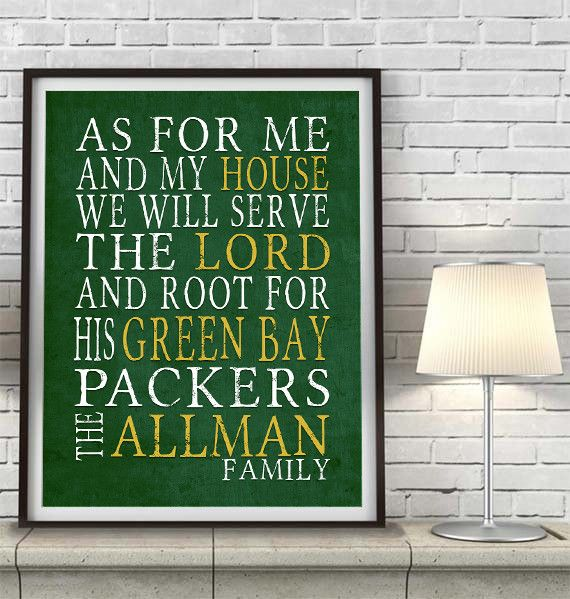 """Green Bay Packers football inspired Personalized Customized Art Print- """"As for Me"""" Parody- Unframed Print"""