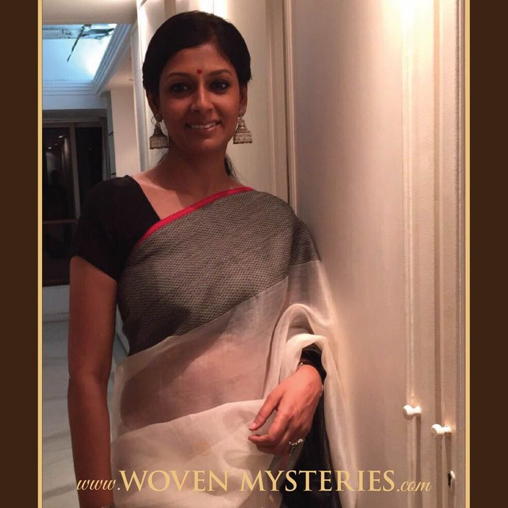 Adorning resham woven borders, exquisite silver jhumkas, looking exceptional in a WM handloom saree ...Nandita Das!