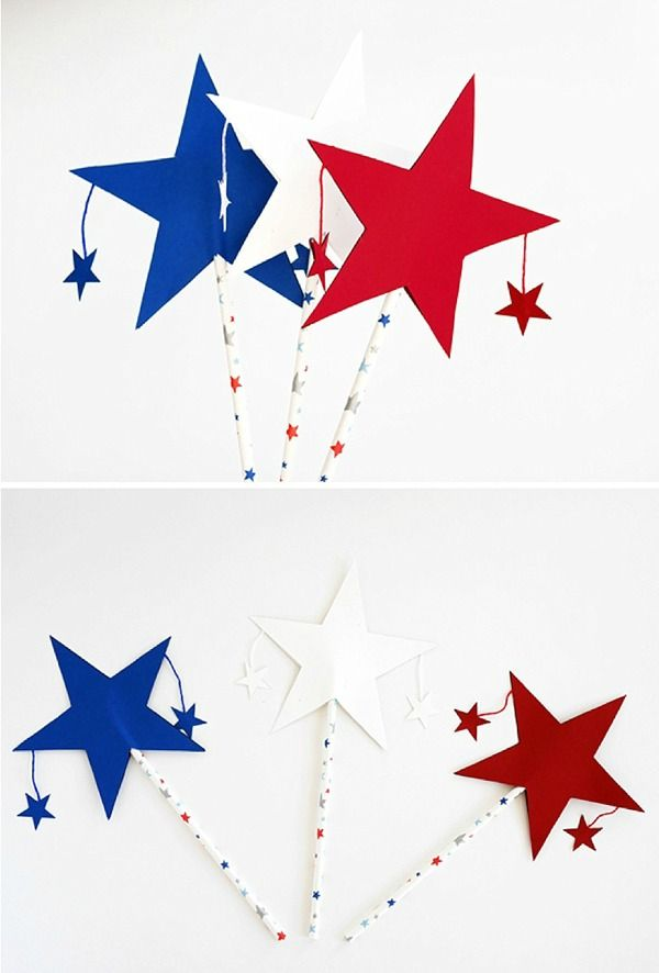 DIY 4th of July Patriotic Star Wands. Contributed by La Maison de Loulou