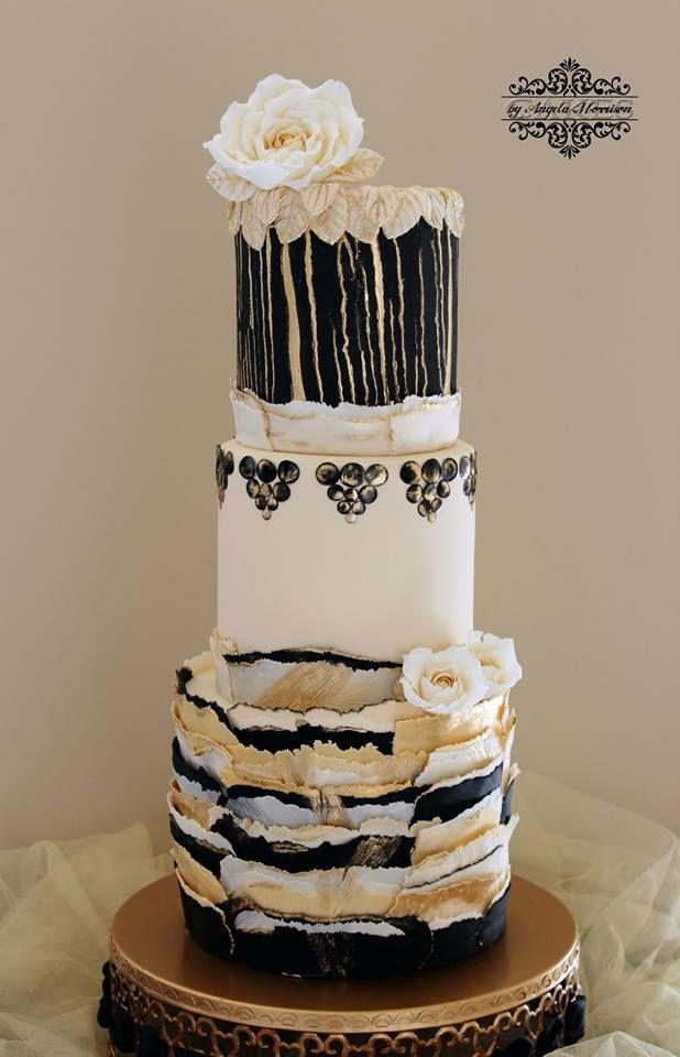 Black White And Gold Wafer Paper Cake