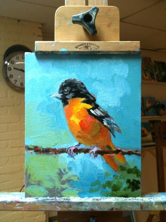 Oriole Painting via Etsy