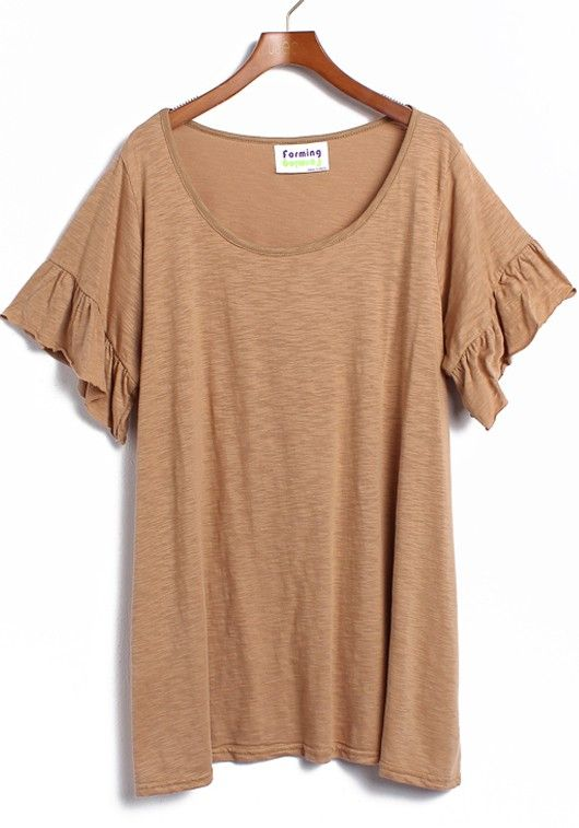 Khaki Round Neck Lotus Sleeve Cotton T-shirt