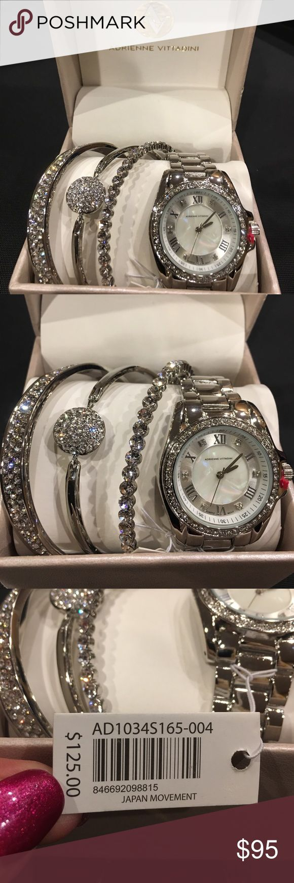 Adrienne Vittadini Watch and Bracelets Adrienne Vittadini Silver Watch with diamonds and 3 Bracelets. You can wear them all together or separately.  Brand new in box. Adrienne Vittadini Jewelry Bracelets