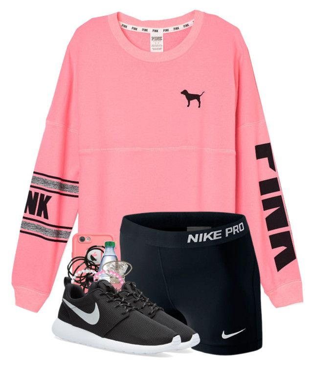 Going on a hike by strawberry-styles ❤ liked on Polyvore featuring Victorias Secret PINK, LifeProof, NIKE and Monki