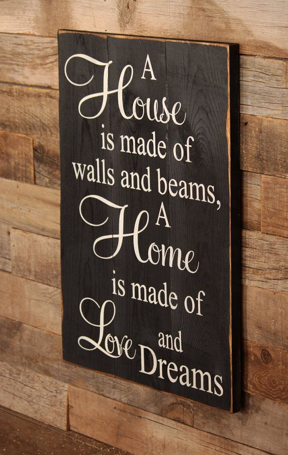 Large Wood Sign A House is made of Bricks and by dustinshelves