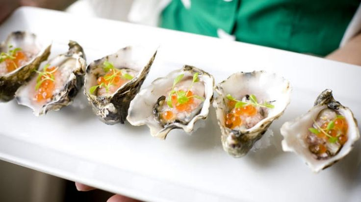 Oysters with salmon roe