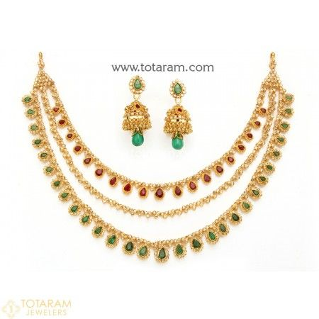 22K Gold '3 Lines' Necklace & Drop Earrings Set with Uncut Diamonds , Ruby , Emerald & Beads - 235-DS726 - Buy this Latest Indian Gold Jewelry Design in 78.550 Grams for a low price of  $7,320.99