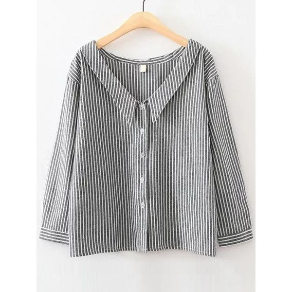 Black Vertical Striped V Neck Button Up Blouse Size Available: S,M,L Type: Tunic Season: Summer Pattern Type: Striped Sleeve Length: Long Sleeve Color: Black M…