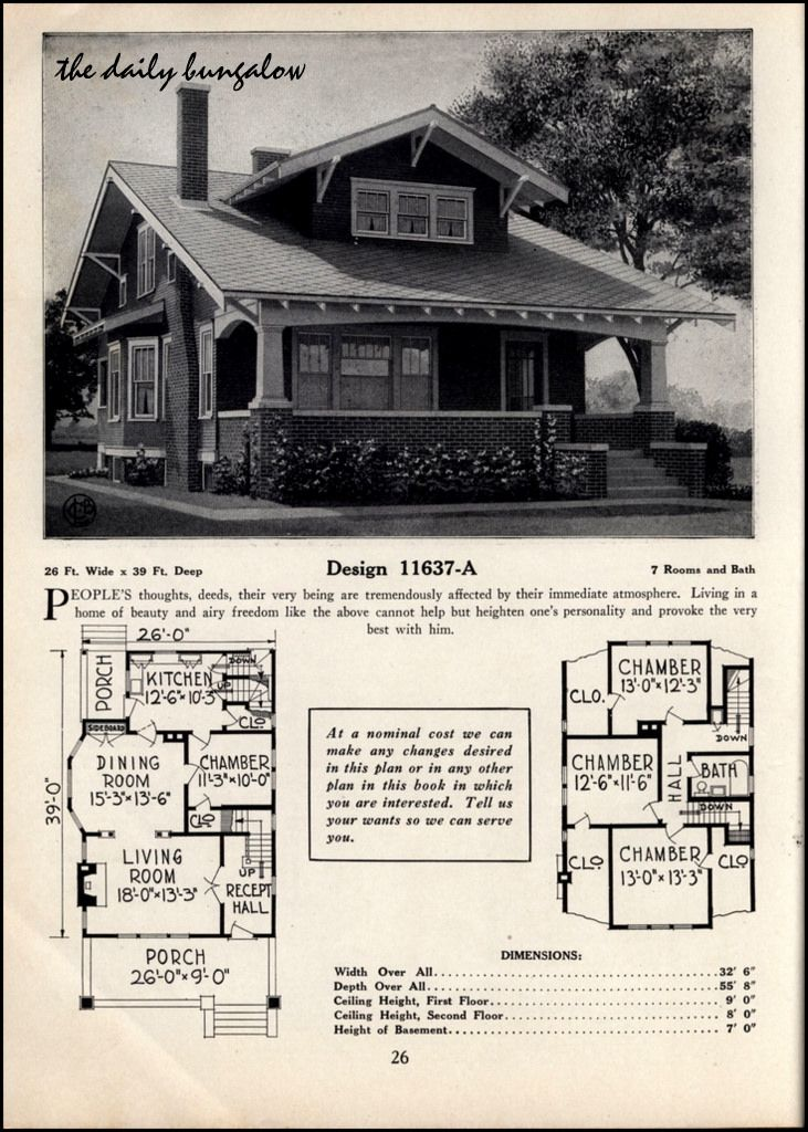 Vintage Craftsman Bungalow House Plans