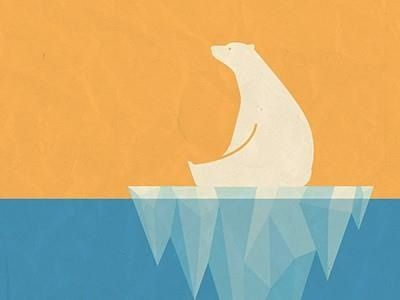 Polar bear on iceberg tonal