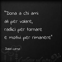 Give to those you love wings to fly, roots to come back and reasons to stay. il solletico nel cuore: Frasi ed aforismi Dalai Lama