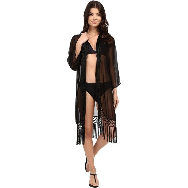 Ella Moss Fez Wrap Tunic Cover-Up (Black) Women's Swimwear (€90) ❤ liked on Polyvore featuring swimwear, cover-ups, black, transparent bikini, fringe bikini, sheer swim cover up, crochet beach cover up and sheer cover up