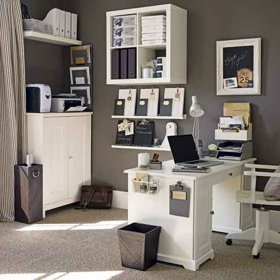 kind of neat this pic, since it's what our living room decor would look like as an office. clever ideas!