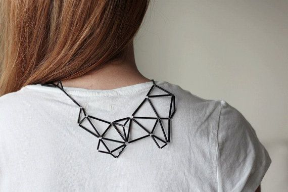Geometric Statement Necklace Faceted Prism Triangle by zdrop