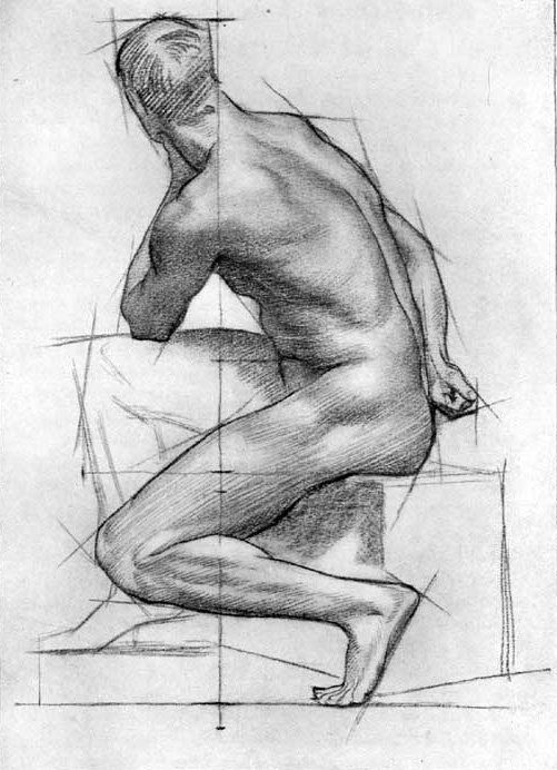 Plate XVIII, Study Illustrating Method of Drawing. From The Practice and Science of Drawing by Harold Speed.