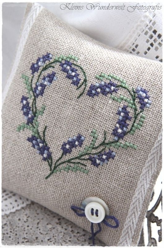 Embroidered Lavender Sachet by lupe
