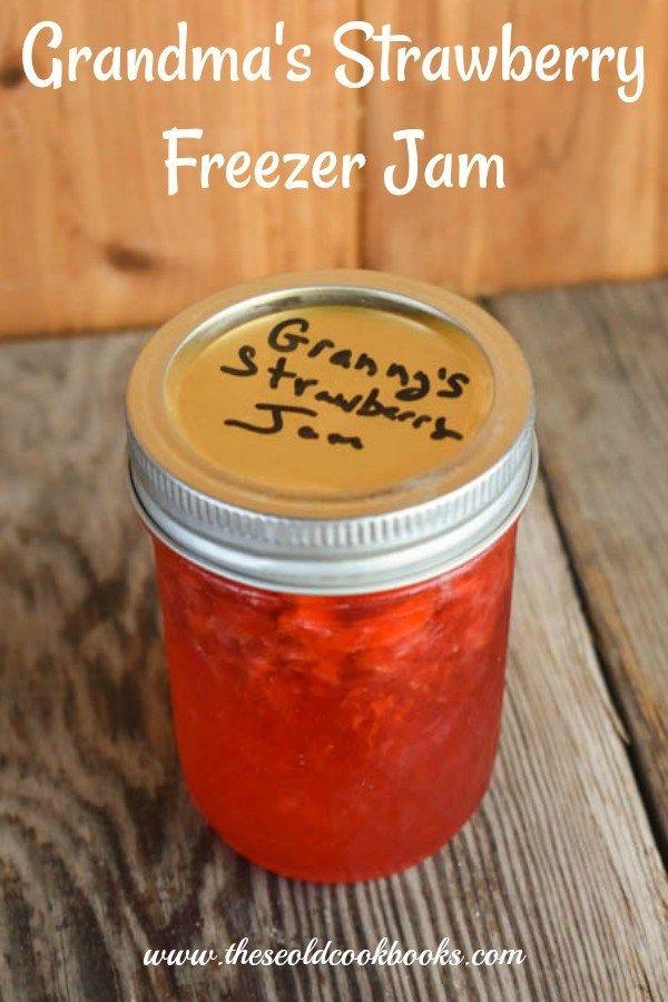 Grandma's Strawberry Freezer Jam Recipe – These Old Cookbooks
