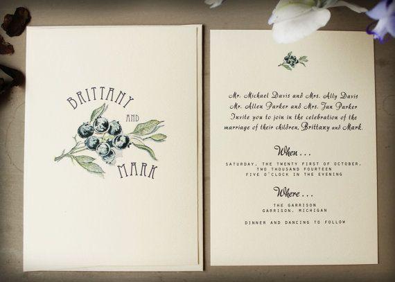 Vintage Botanical Wedding Invitation Blueberry Wedding Invitation Printable DIY OR Ship