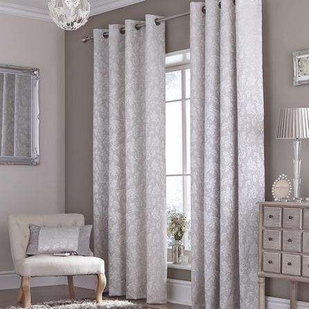 Silver Canterbury Eyelet Curtains
