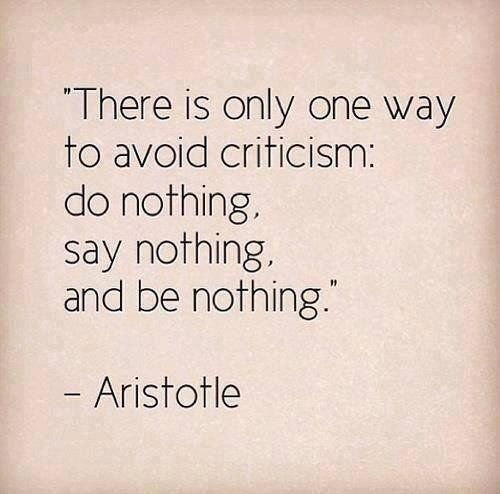 """there is only one way to avoid criticism: do nothing, say nothing, and be nothing.""-Aristotle"