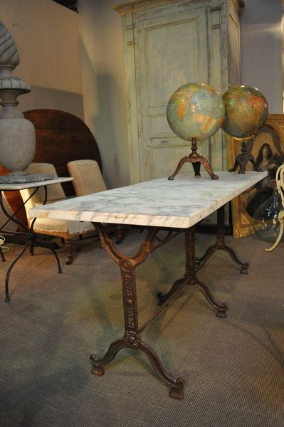 Antique French Double Long Garden Bistro Table With Marble Top