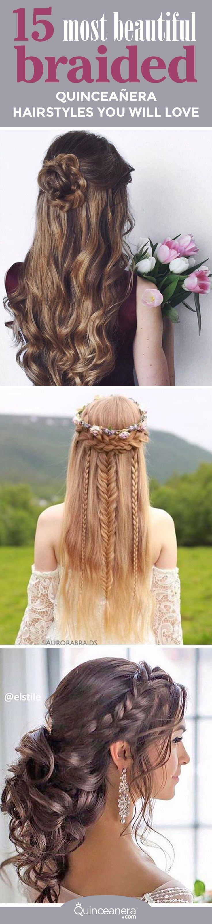 You're about to find the hairstyle you've always dreamed of. Get inspired by the most gorgeous braided quinceanera hairstyles that will leave your guests breathless!