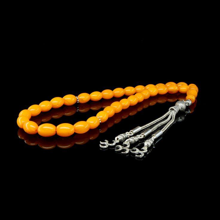 Orange Amber Tasbih With 925 Sterling Silver Tassle (TG-1035)