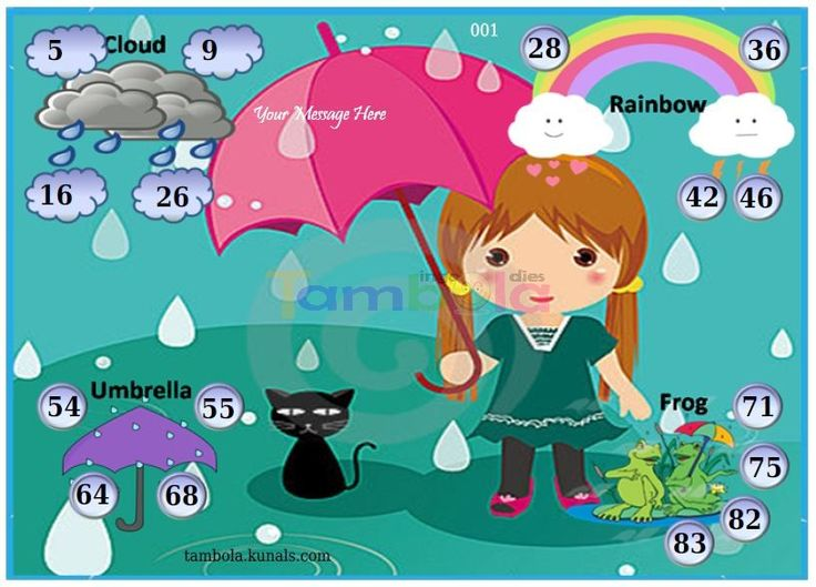 Rain Anywhere 1  in 9x4 format :Templates Tickets | Tambola Housie